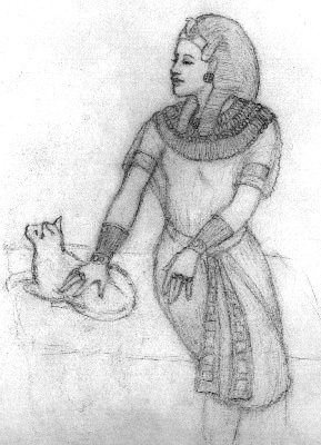 Drawing of Akhenaten with feline