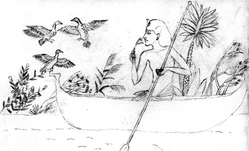 Drawing of Akhenaten in a small boat on the Nile, with ducks flying up from the weeds.