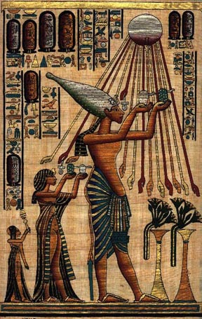 Painting of Akhenaten scene on papyrus.