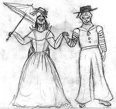Drawing by Megaera Lorenz of Gigan as Josephine and Jet Jaguar as Ralph in the Pinafore.