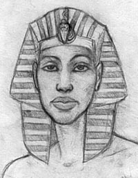 A portrait of Akhenaten by Megaera Lorenz