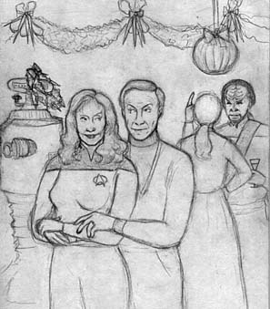 Drawing of Beverly Crusher with Dr. Smith at the Glugschmuckfest party.