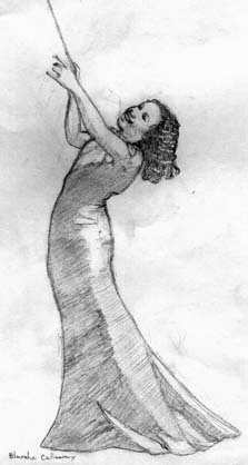 Drawing of Blanche Calloway by Megaera Lorenz.