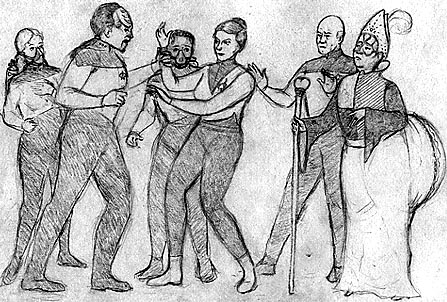 Drawing of the showdown between Worf, Olestra, Picard and the Prince of Bigassia. Worf is seizing Olestra's wrist while Picard scowls and the rest look dismayed.