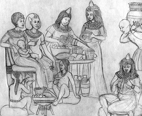 Drawing of Akhenaten, Nefertiti and three princesses dining.