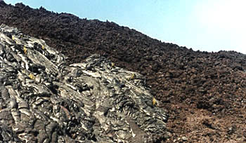 Photo showing aa in the background and pahoehoe in the foreground.