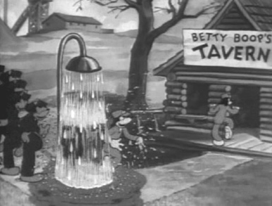 Miners wash off the coal dust before entering Betty Boop's tavern.