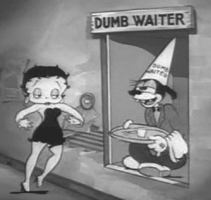 Betty Boop meets the dumb waiter.