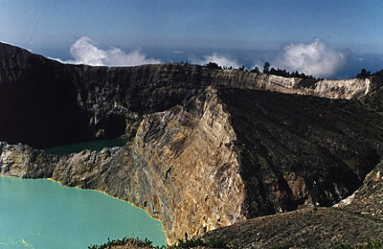 The other two Kelimutu lakes, sulfuric acid lake in foreground.