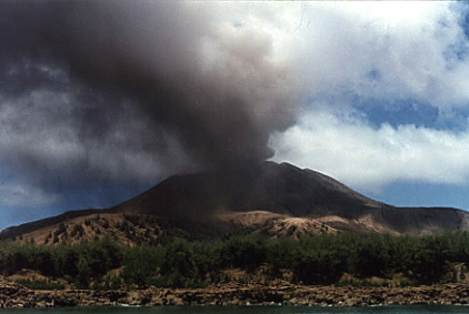 Photo by Brenna Lorenz of Mt. Pagan erupting, 1994.