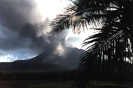 Photograph by Brenna Lorenz of Mt. Pagan erupting to the north.
