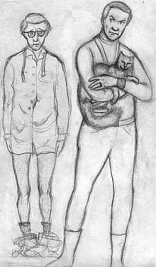 This is a drawing by Megaera Lorenz of Dr. Smith holding his cat while Woody Allen looks on disconsolately, his pants down around his ankles.