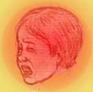 Drawing of child crying.