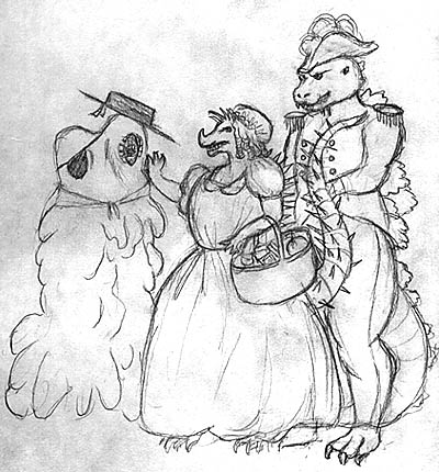 Drawing of Megaera Lorenz of Smog Monster as Dick Deadeye, Anguirus as Buttercup and Godzilla as Captain Corcoran.