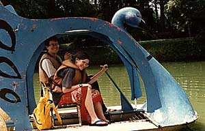 Photo of Megaera and Mike in the swan boat in Malaysia.