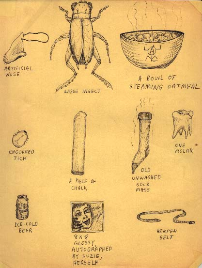 Drawing of a rubber nose, a large insect, a bowl of oatmeal, a tick, a piece of chalk, a dirty sock, a molar, a beer, a photo, and a belt.